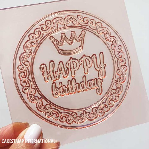 HAPPY BIRTHDAY With Crown ROUND SHAPE Cake Topper  Mold | Flexible Polymer Mold | Chocolate Mold