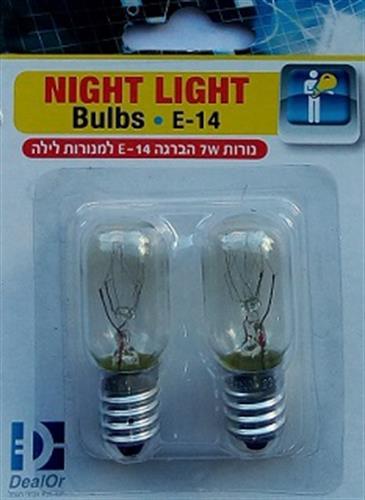 זוג נורות למנורת לילה E14  7W