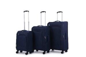 סט 3 מזוודות SWISS בד קלות וסופר איכותיות - צבע כחול
