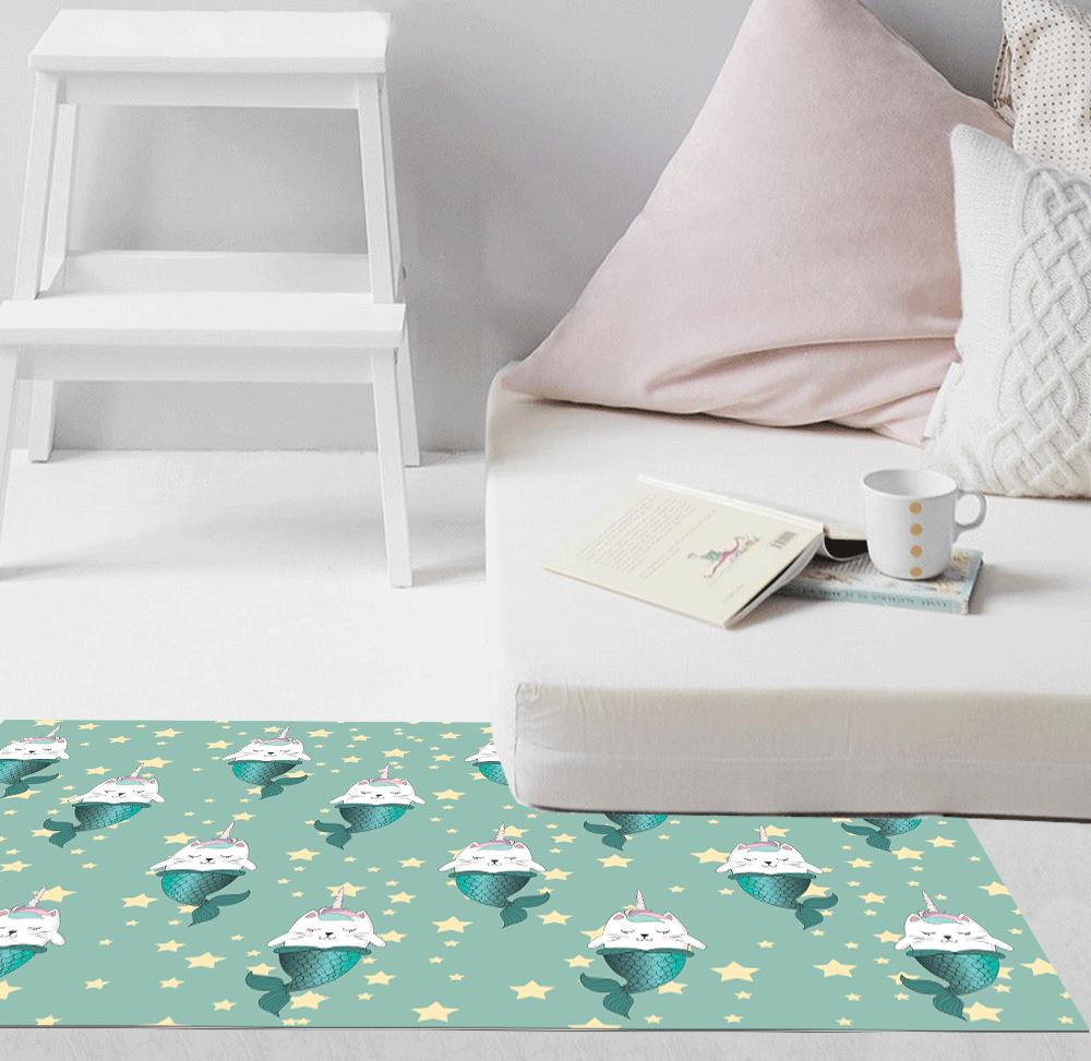שטיח PVC   דגם חתולים טורקיז