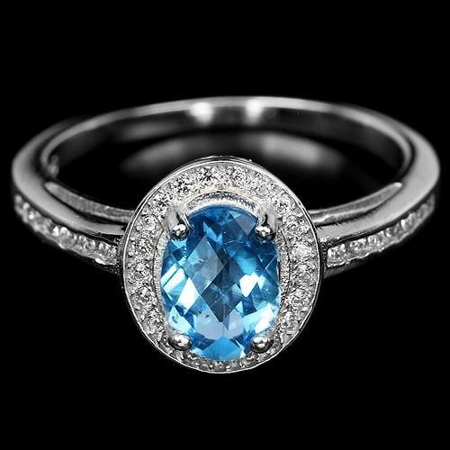 טבעת כסף משובצת טופז כחול וזרקונים RG4115   תכשיטי כסף 925   טבעות כסף