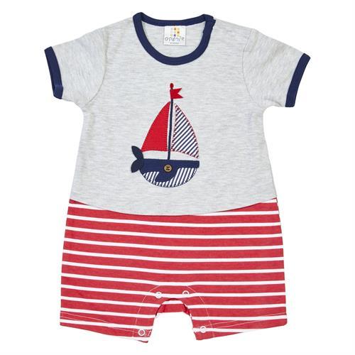 אוברול סירה חצי פסים אדום