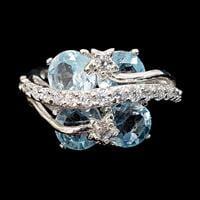 טבעת כסף משובצת אבני טופז כחול וזרקונים RG5531 | תכשיטי כסף 925