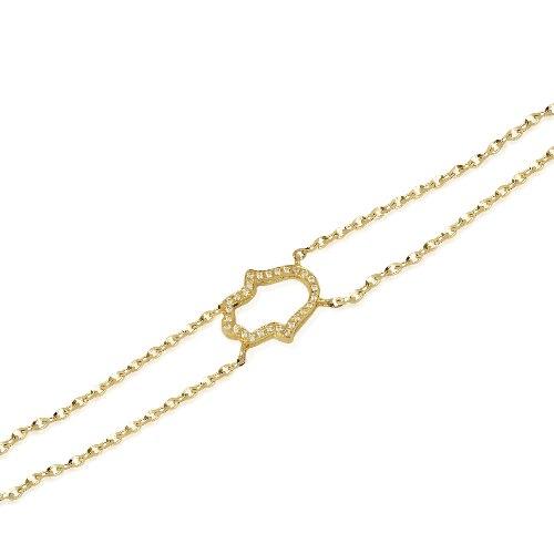 צמיד זהב חמסה יהלומים עדין לאישה או נערה