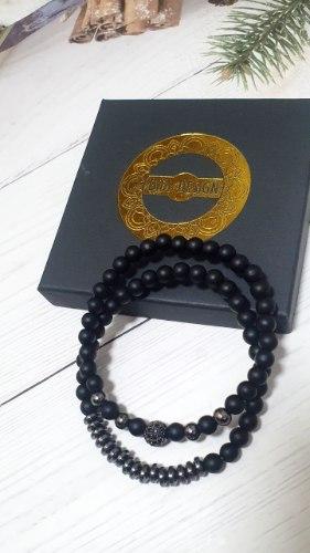 זוג צמידים אבני לאבה שחור מט