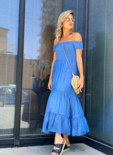 שמלה סטרפלס ציפקה ג'ינס ALMHA