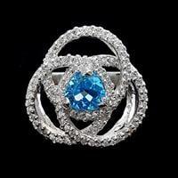 טבעת כסף משובצת טופז כחול וזרקונים RG1655   תכשיטי כסף 925   טבעת כסף