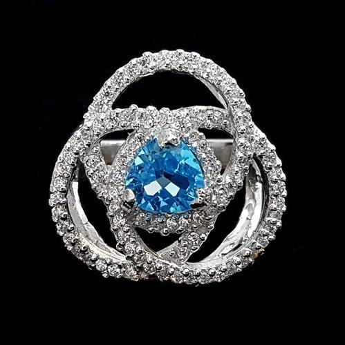 טבעת כסף משובצת טופז כחול וזרקונים RG1655 | תכשיטי כסף 925 | טבעת כסף