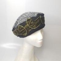 כובע מעוצב אלגנטי סרט קטיפה ירוק זית