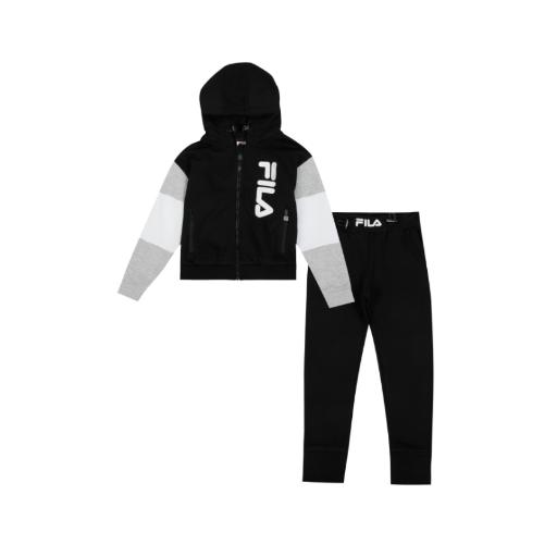 חליפת פוטר שחורה לוגו כסוף מאונך FILA - בנות 2-8 שנים