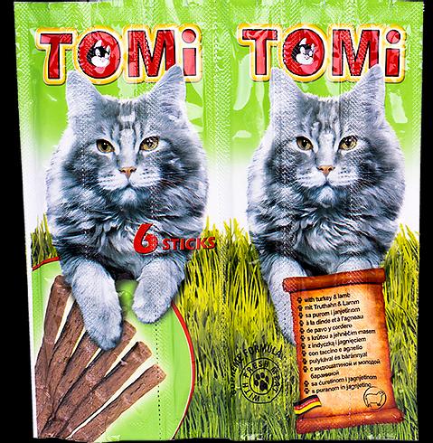 חטיף טומי לחתול בטעם הודו וכבש 6 מקלות