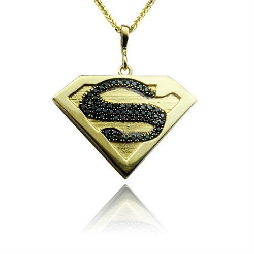 שרשרת סופרמן מזהב צהוב 14 קרט משובץ יהלומים שחורים 0.30 קראט