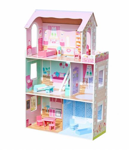 בית בובות עץ לילדים ורוד דגם רינת W06A044