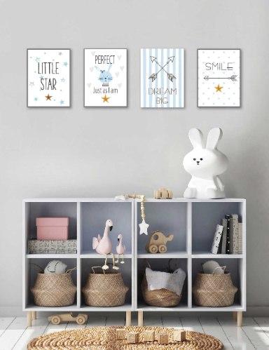 סט של 4 תמונות השראה לחדר תינוק דגם 01