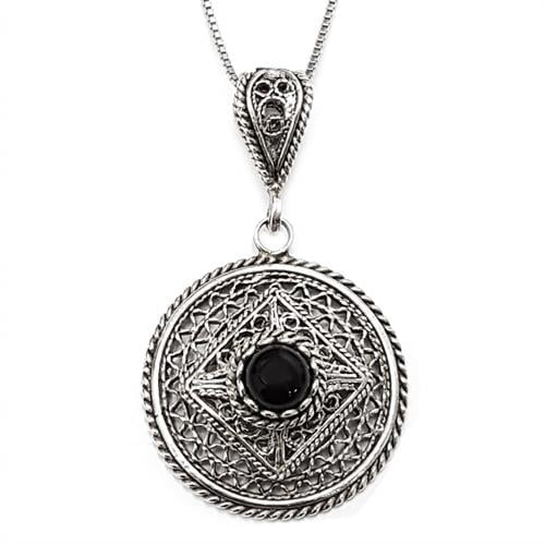 תליון מכסף מעוצב משובץ אבן אוניקס שחורה T5911 | תכשיטי כסף