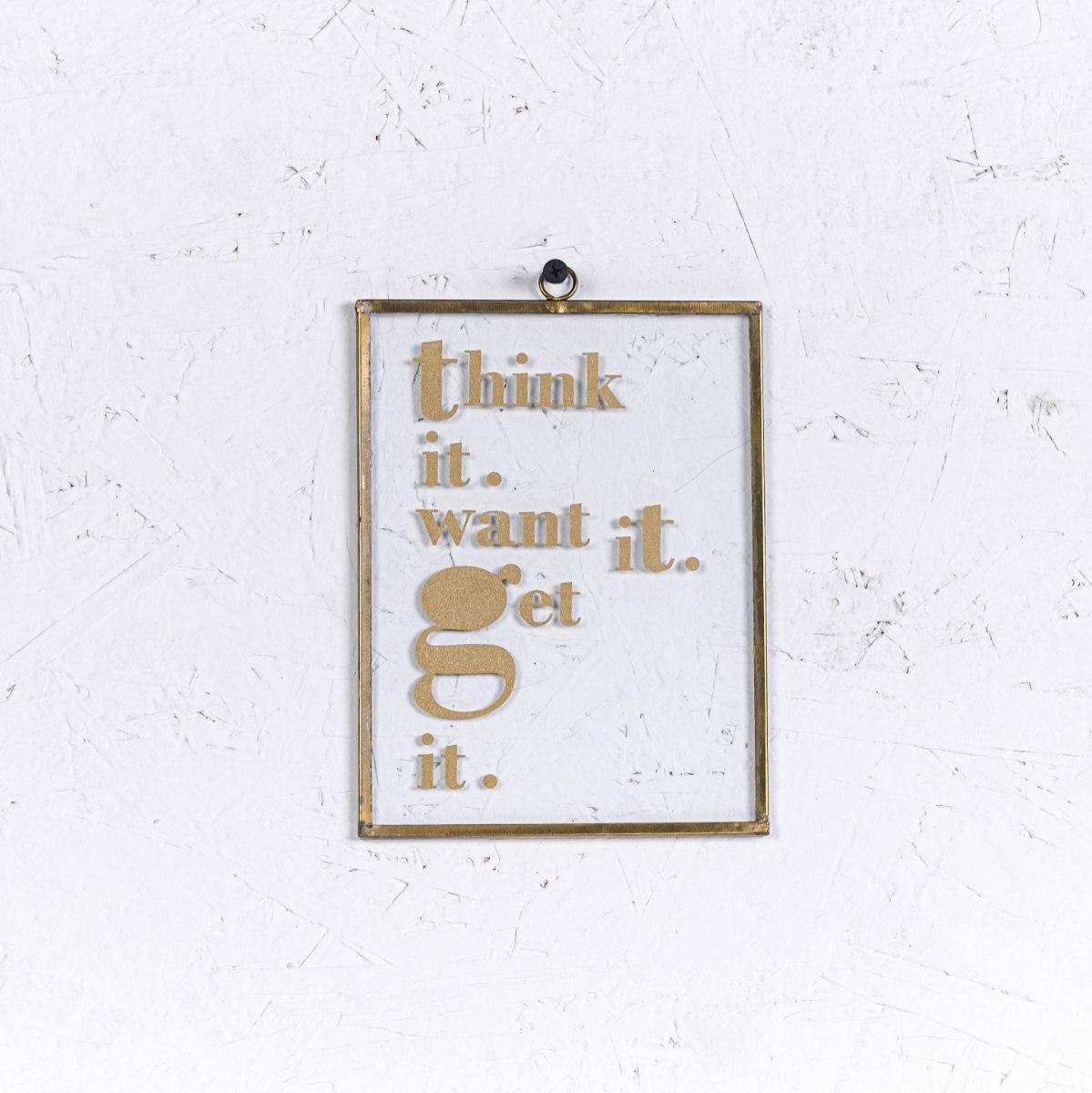 שלט זכוכית בינוני - THINK IT (זהב)