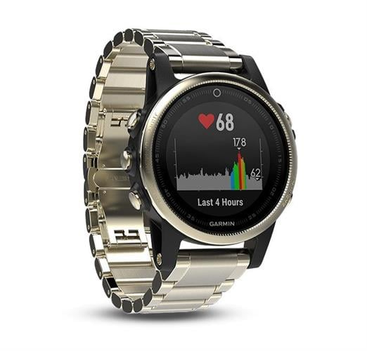 Garmin Fenix 5S Sapphire Champagne with metal band שעון דופק