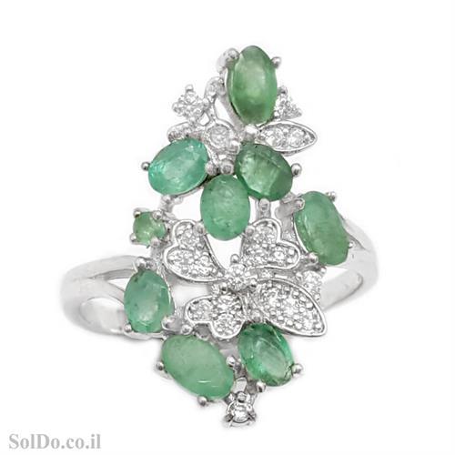 טבעת מכסף משובצת אבני אמרלד וזרקונים RG6067 | תכשיטי כסף 925 | טבעות כסף