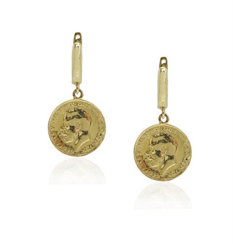 עגילי מטבע זהב נתלים