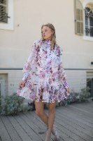 שמלת שיפון פרחים- סגול