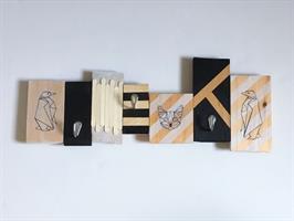 עיצוב בעץ - מתלה מעילים (הורה וילד) - חנוכה