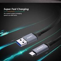 כבל Aukey USB-C מקורי באריזה באורך 2מטר - איכותי במיוחד