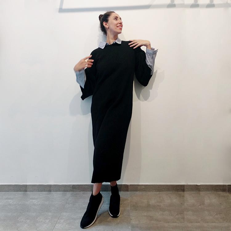 שמלת קארי סריג (סוודר) שחורה