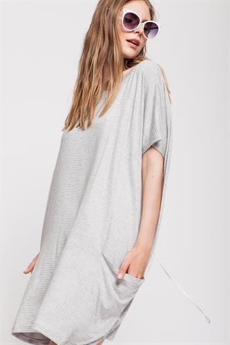 שמלת סמבה פסים אפור