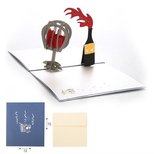 כרטיס ברכה POP UP יין וגביע