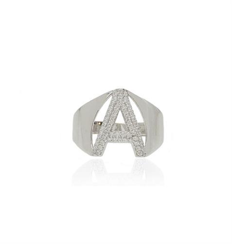 טבעת זהב אות A עם זרקונים