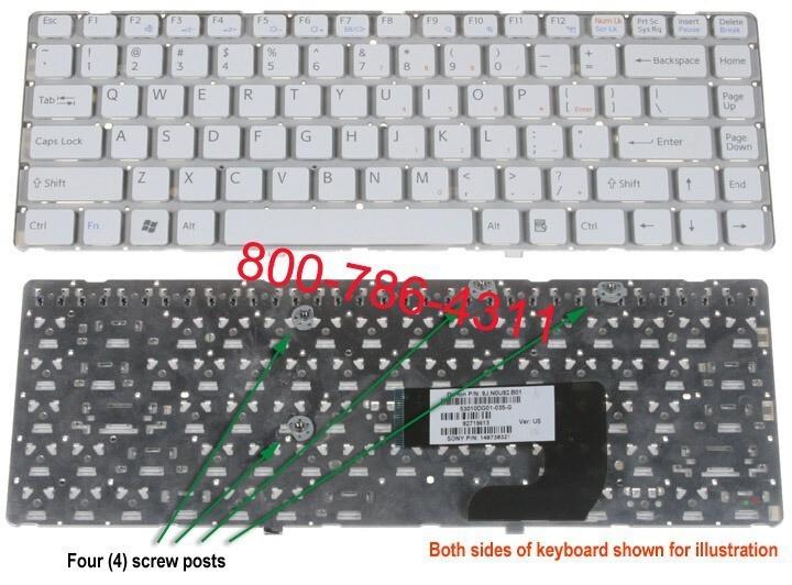 מקלדת למחשב נייד סוני - מתמחים בתיקון ניידים SONY VGN NW White Keyboard 9J.N0U82.A01 / 148738321 /  148738521 / 1-487-385-21