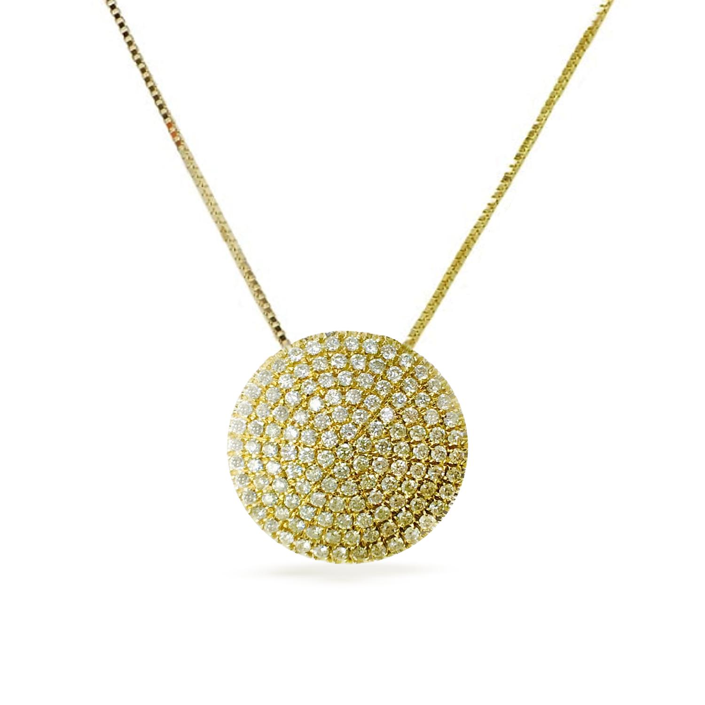 שרשרת ותליון בצורת מעגלי זהב 14K משובץ יהלומים 2.20 קראט - תעודה גמולוגית IGL
