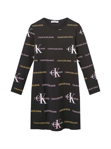 שמלה שחורה CK הדפס ALL OVER