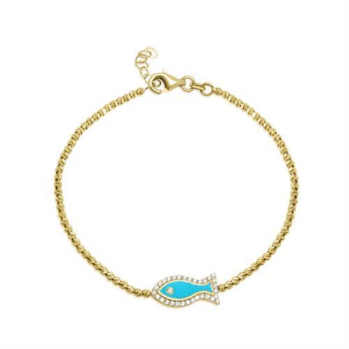 צמיד זהב כדורי עם תליון דג זרקונים ואמייל כחול