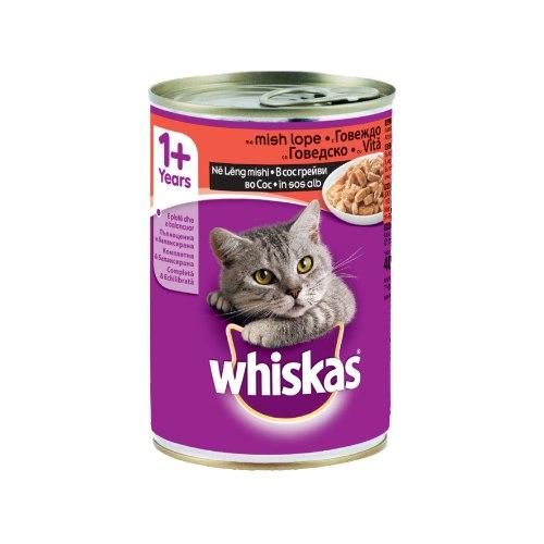 ויסקס מזון מלא רטוב לחתול בטעם בקר 400 גרם -WHISKAS BEEF CANNED 400G