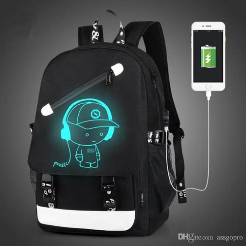תיק גב זוהר בחושך נגד גניבות ועם יציאת USB מובנית להטענה