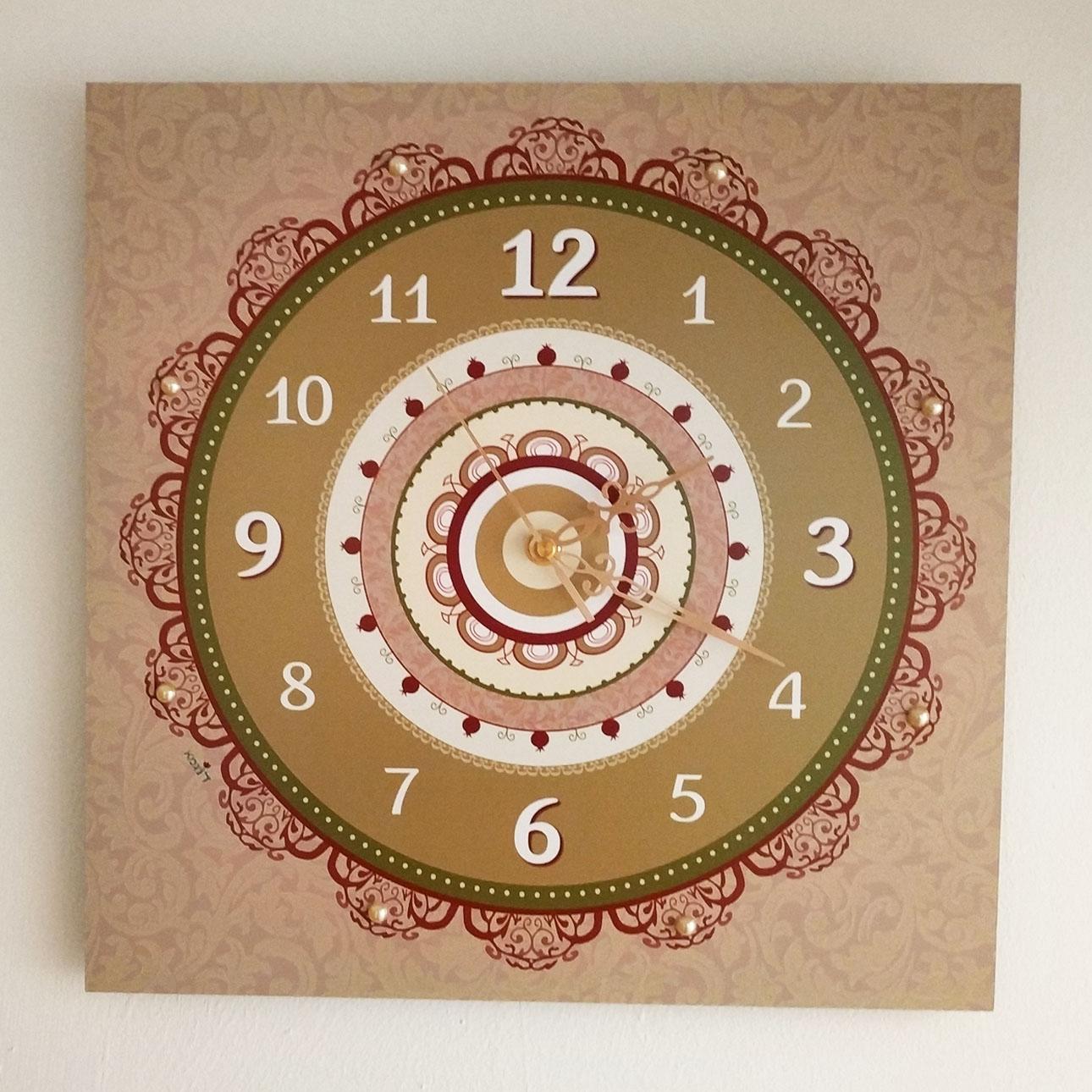 שעון קיר מעוצב - בורדו (פרחוני) - דוגמא