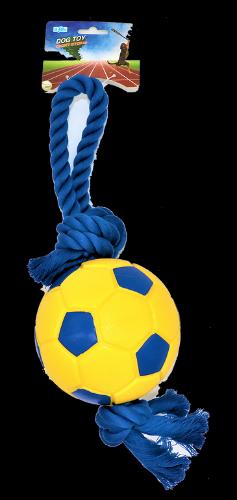 צעצוע לכלב כדורגל מצפצף עם חבל מדיום