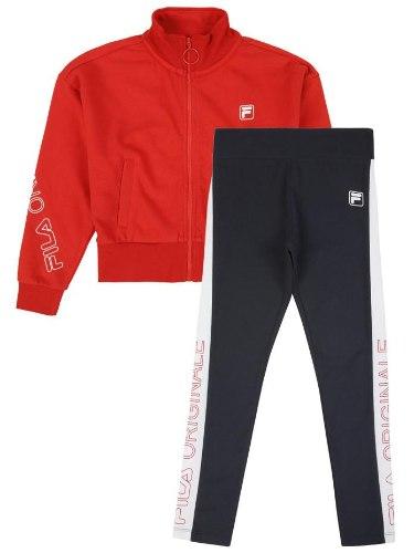 חליפת טייץ עליונית אדומה וטייץ כחול FILA - מידות 10-16 שנים
