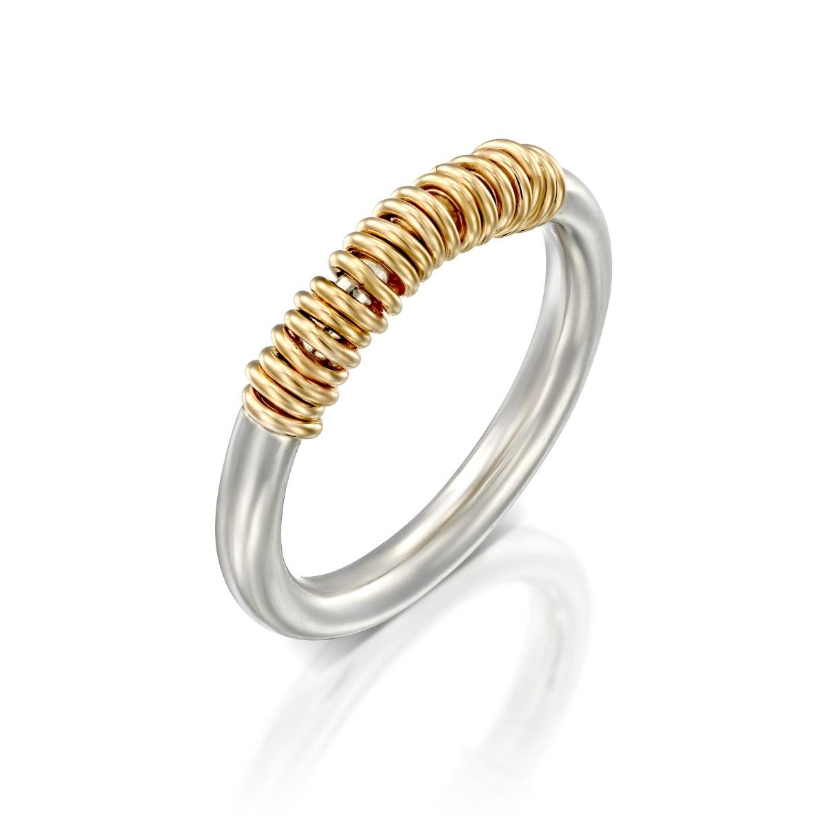 טבעת כסף משולבת לולאות זהב 14 קרט נועה טריפ noa tripp