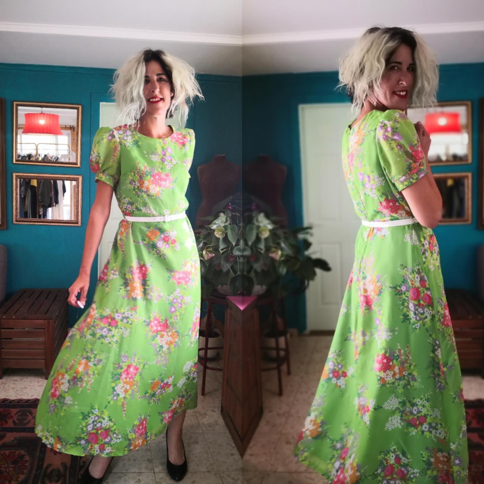 שמלת וינטג' פרחונית מקסי מידה L