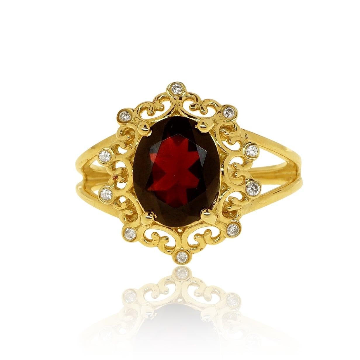 טבעת זהב 14 קרט בעיצוב ויקטוריאני משובץ אבן גרנט ויהלומים 0.08 קראט