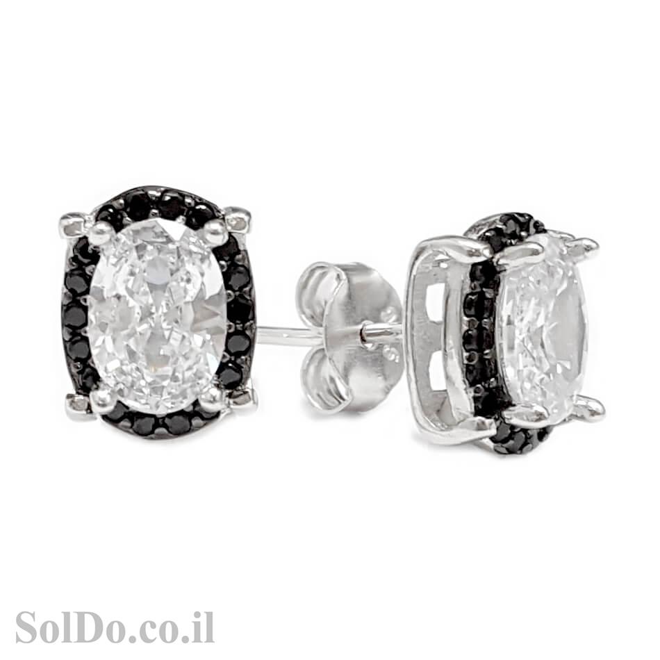 עגילים מכסף צמודים משובצים אבן זרקון שקופה גדולה ואבני זרקון קטנות שחורות A8663 | תכשיטי כסף 925