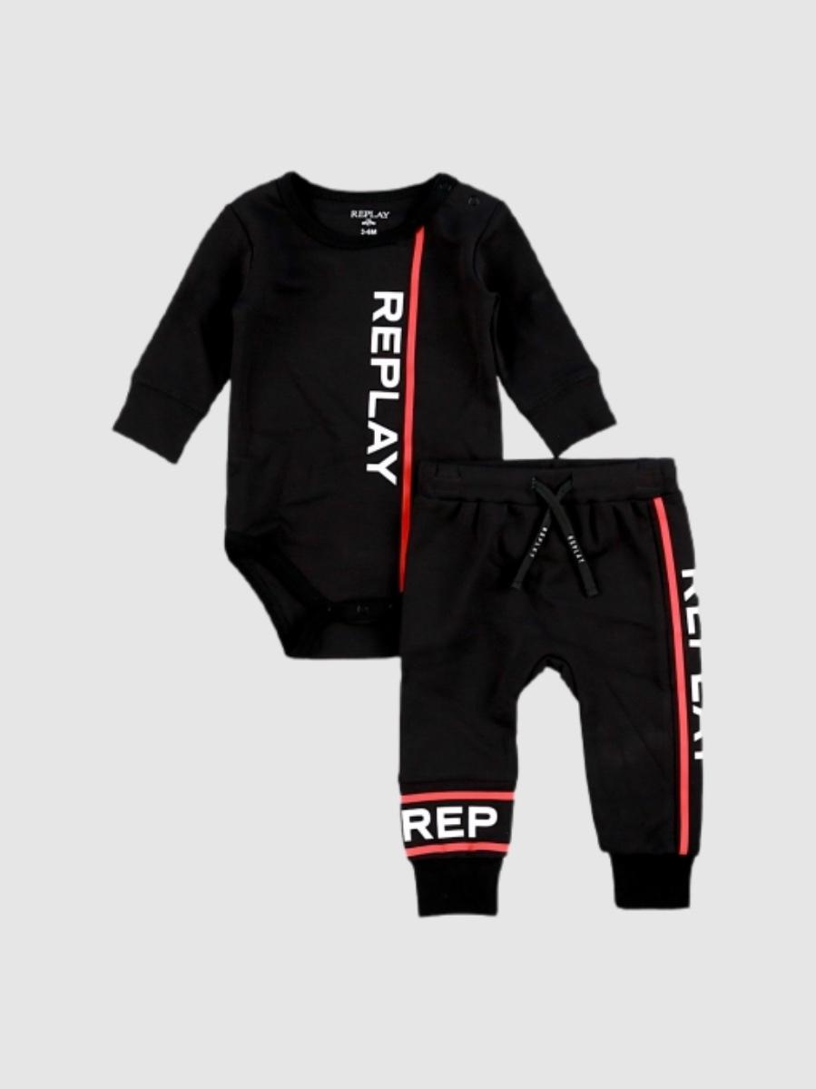 REPLAY סט בגד גוף ומכנס שחור מידות 0-24 חודשים