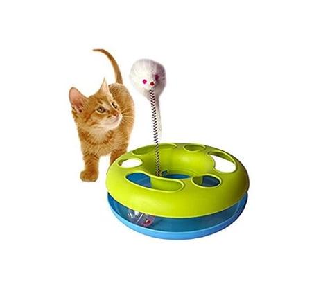 משחק לחתול - גלגל עם עכבר ונוצה על קפיץ