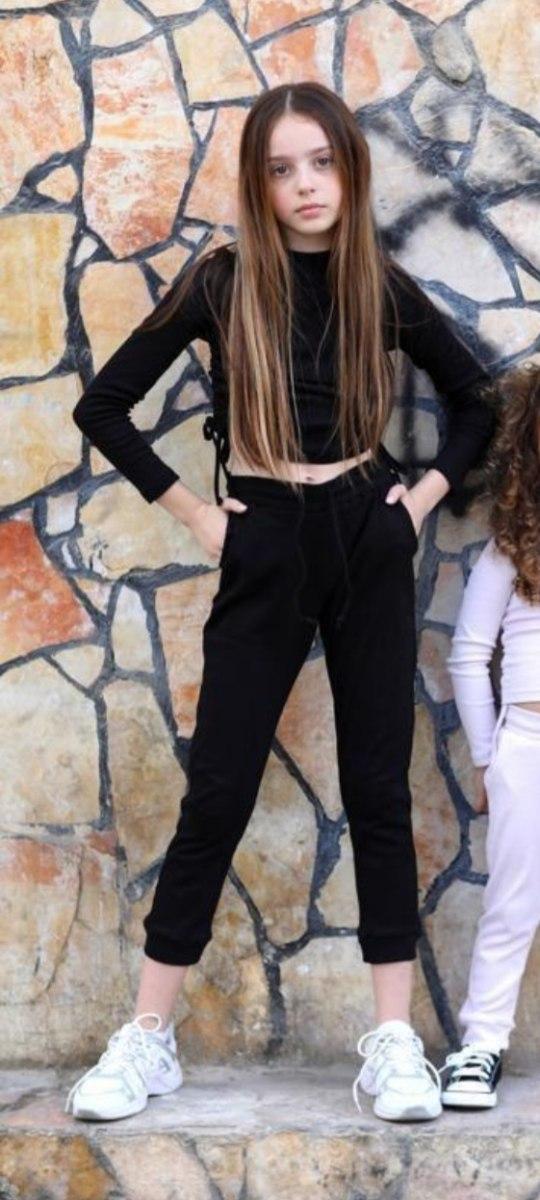 חליפת מכנס ריב כיווצים שחורה
