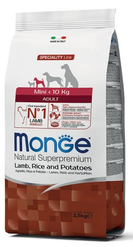 """מונג' לכלב מיני בוגר כבש ואורז 2.5 ק""""ג - MONGE ADULT MINI LAMB AND RICE"""
