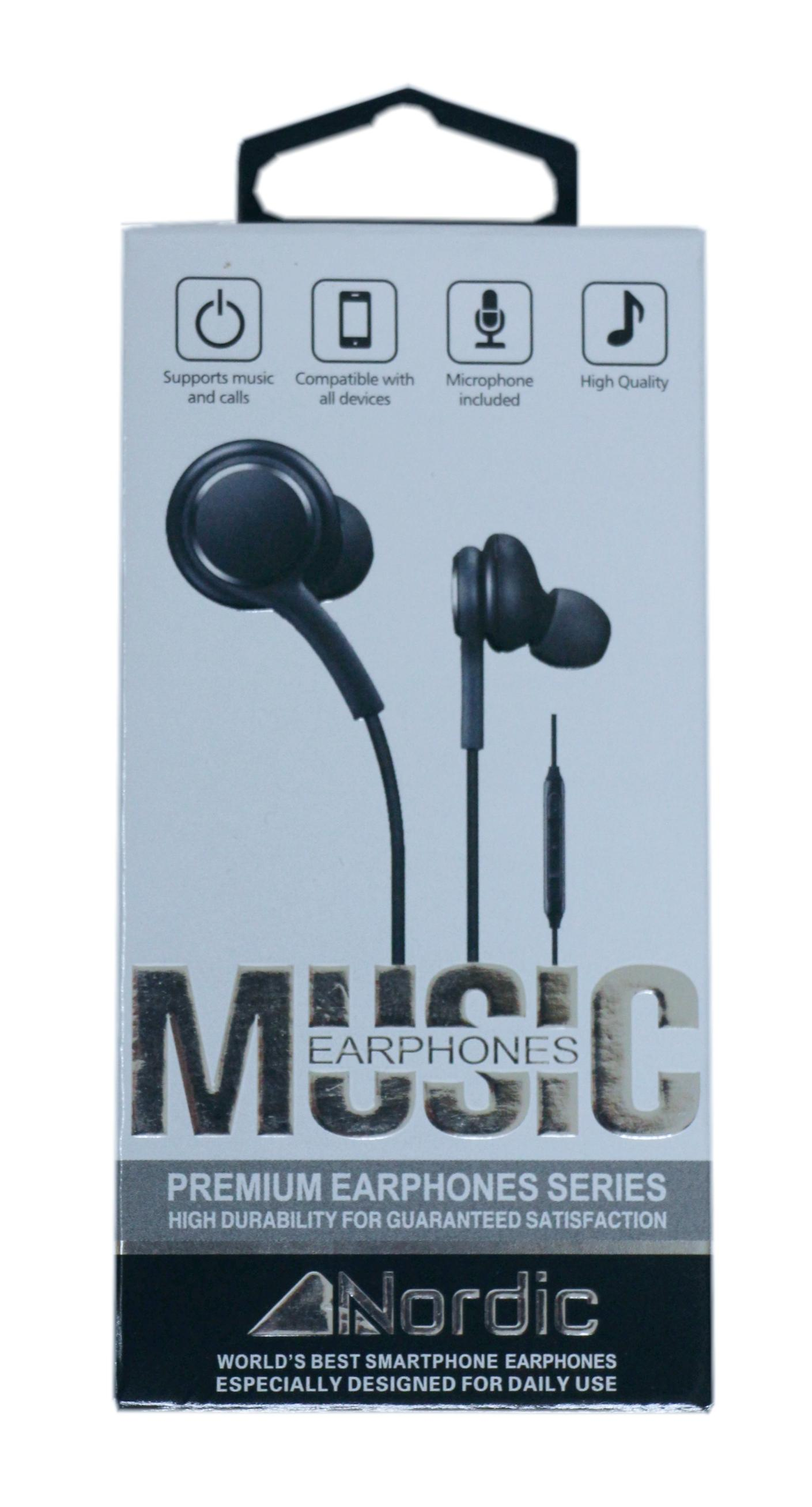 אוזניות חוט לגלקסי/אייפון של חברת Nordic עם שליטה על ווליום ומקרופון בצבע שחור