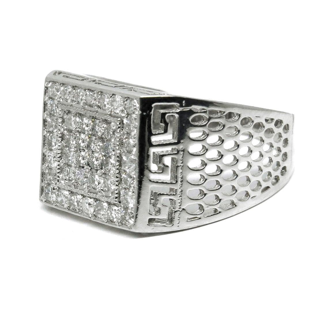 טבעת מיוחדת לגבר, טבעת משובצת ביהלומים לגבר עשויה בזהב 14K