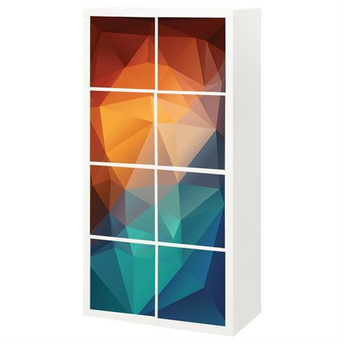 8 יח' טפט להדבקה על דלת כוורת (KALLAX)- צורות גאומטריות 3D